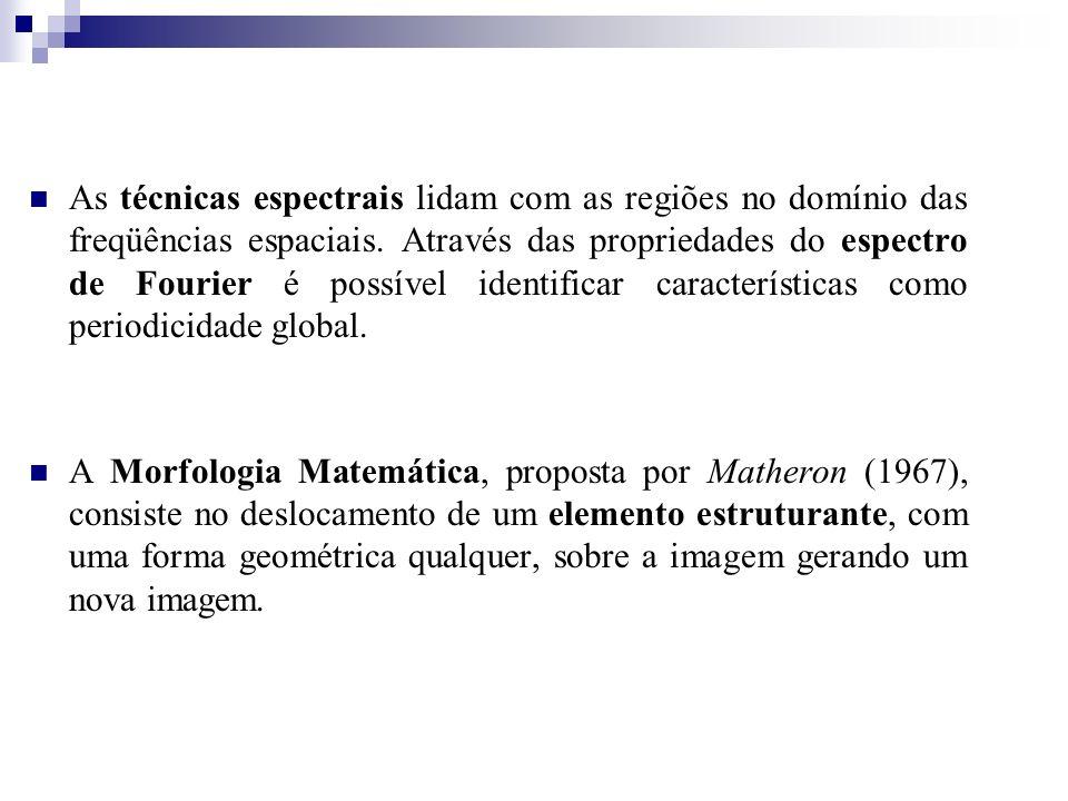 As técnicas espectrais lidam com as regiões no domínio das freqüências espaciais. Através das propriedades do espectro de Fourier é possível identificar características como periodicidade global.