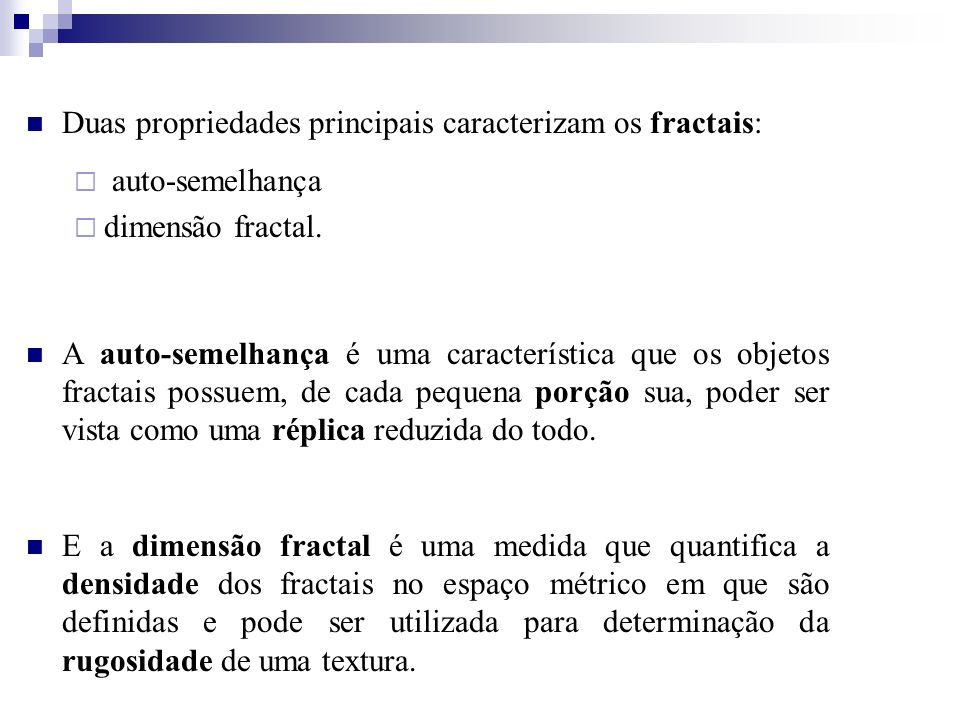 Duas propriedades principais caracterizam os fractais: