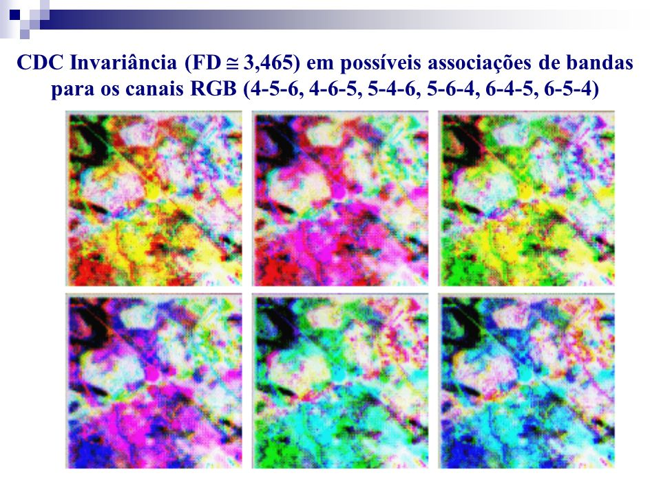 CDC Invariância (FD  3,465) em possíveis associações de bandas para os canais RGB (4-5-6, 4-6-5, 5-4-6, 5-6-4, 6-4-5, 6-5-4)