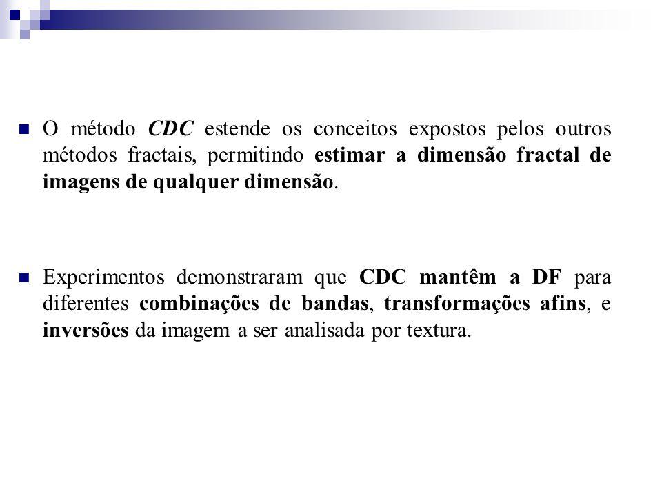 O método CDC estende os conceitos expostos pelos outros métodos fractais, permitindo estimar a dimensão fractal de imagens de qualquer dimensão.