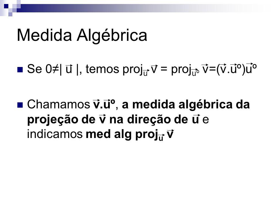 Medida Algébrica Se 0≠| u |, temos proju v = projuº v=(v.uº)uº