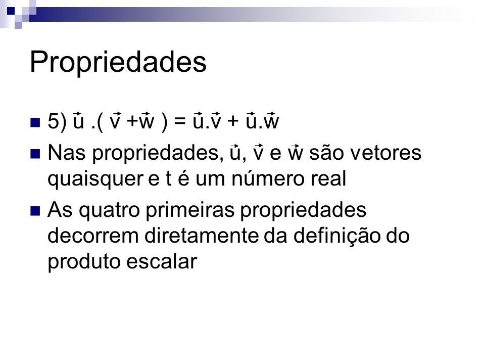 Propriedades 5) u .( v +w ) = u.v + u.w