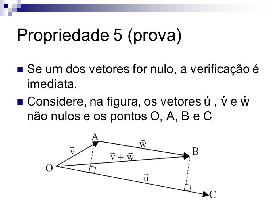 Propriedade 5 (prova) Se um dos vetores for nulo, a verificação é imediata.