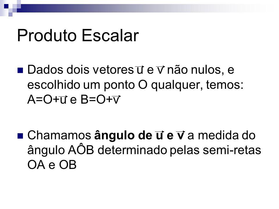Produto Escalar Dados dois vetores u e v não nulos, e escolhido um ponto O qualquer, temos: A=O+u e B=O+v.