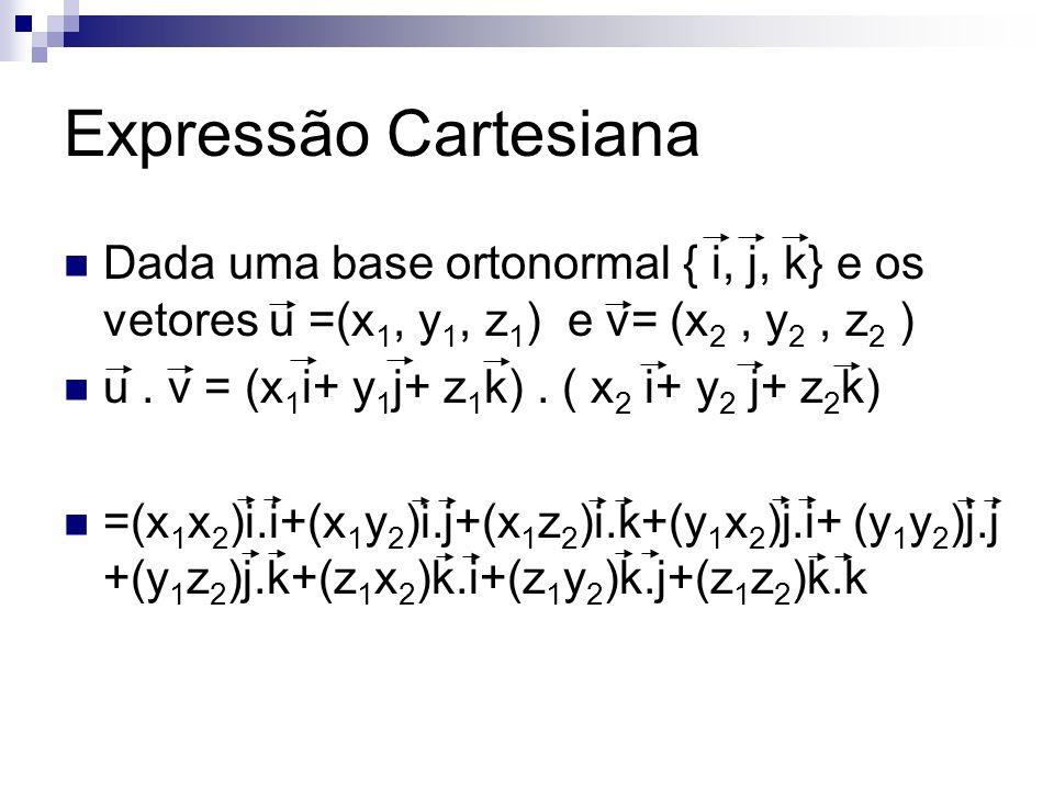 Expressão Cartesiana Dada uma base ortonormal { i, j, k} e os vetores u =(x1, y1, z1) e v= (x2 , y2 , z2 )