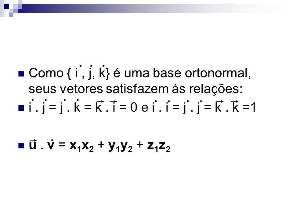 Como { i , j, k} é uma base ortonormal, seus vetores satisfazem às relações: