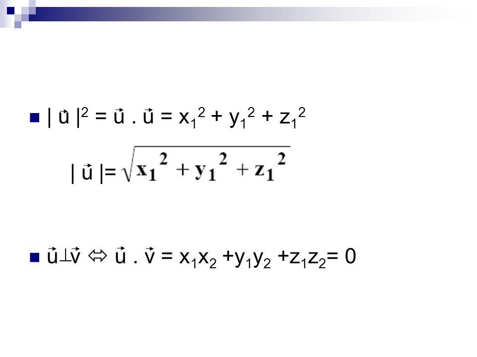| u |2 = u . u = x12 + y12 + z12 | u |= u v  u . v = x1x2 +y1y2 +z1z2= 0