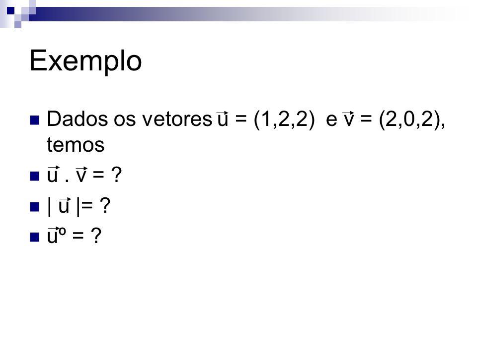 Exemplo Dados os vetores u = (1,2,2) e v = (2,0,2), temos u . v =