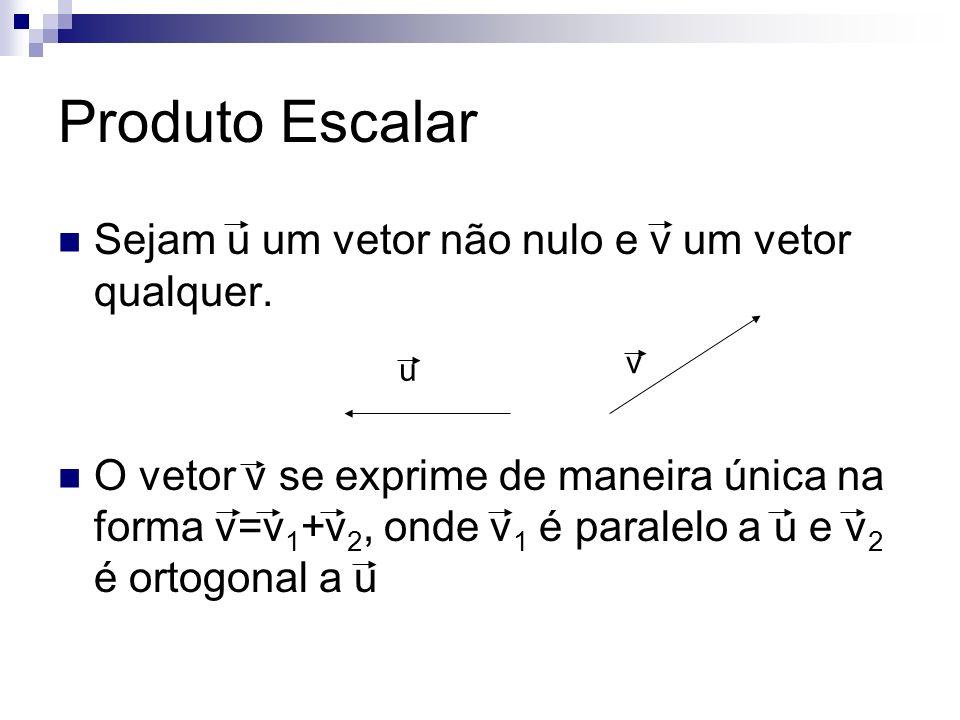 Produto Escalar Sejam u um vetor não nulo e v um vetor qualquer.