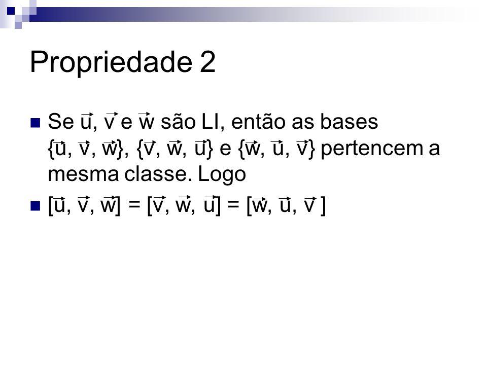 Propriedade 2 Se u, v e w são LI, então as bases {u, v, w}, {v, w, u} e {w, u, v} pertencem a mesma classe. Logo.