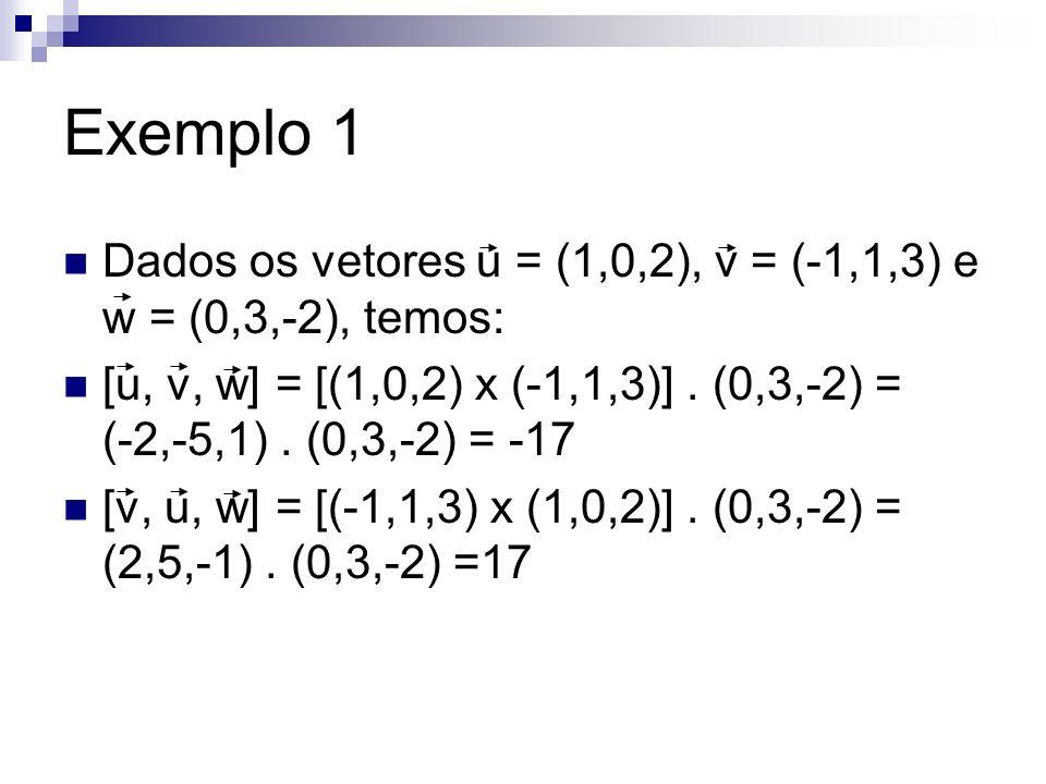 Exemplo 1 Dados os vetores u = (1,0,2), v = (-1,1,3) e w = (0,3,-2), temos: