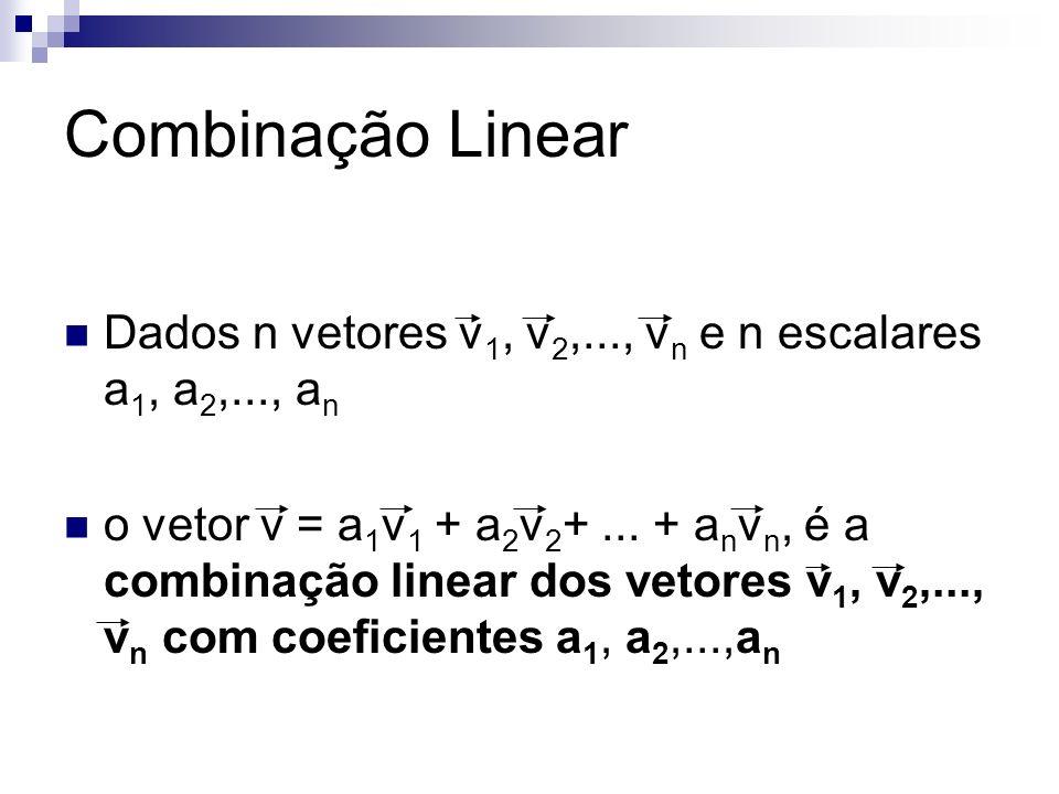 Combinação Linear Dados n vetores v1, v2,..., vn e n escalares a1, a2,..., an.