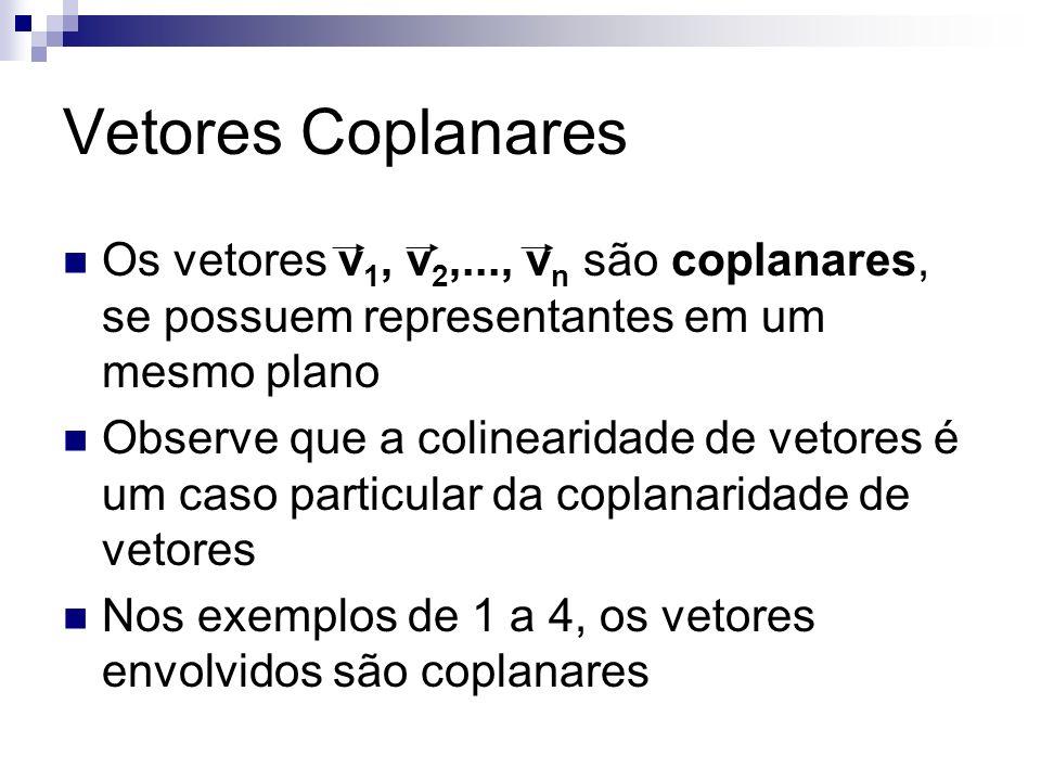 Vetores Coplanares Os vetores v1, v2,..., vn são coplanares, se possuem representantes em um mesmo plano.