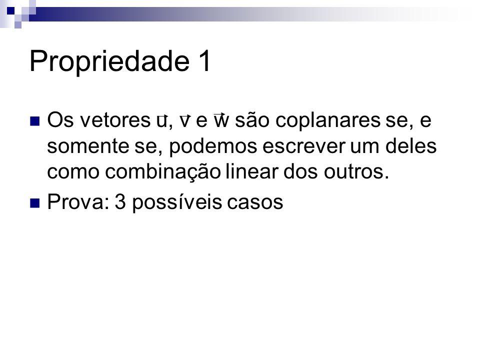 Propriedade 1 Os vetores u, v e w são coplanares se, e somente se, podemos escrever um deles como combinação linear dos outros.