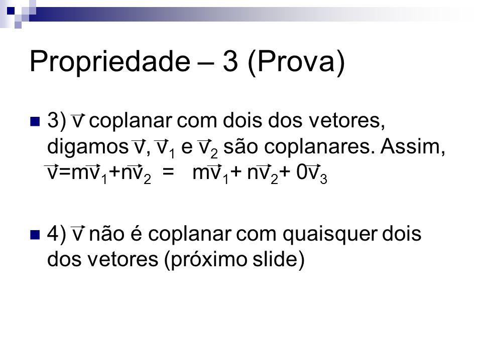 Propriedade – 3 (Prova) 3) v coplanar com dois dos vetores, digamos v, v1 e v2 são coplanares. Assim, v=mv1+nv2 = mv1+ nv2+ 0v3.