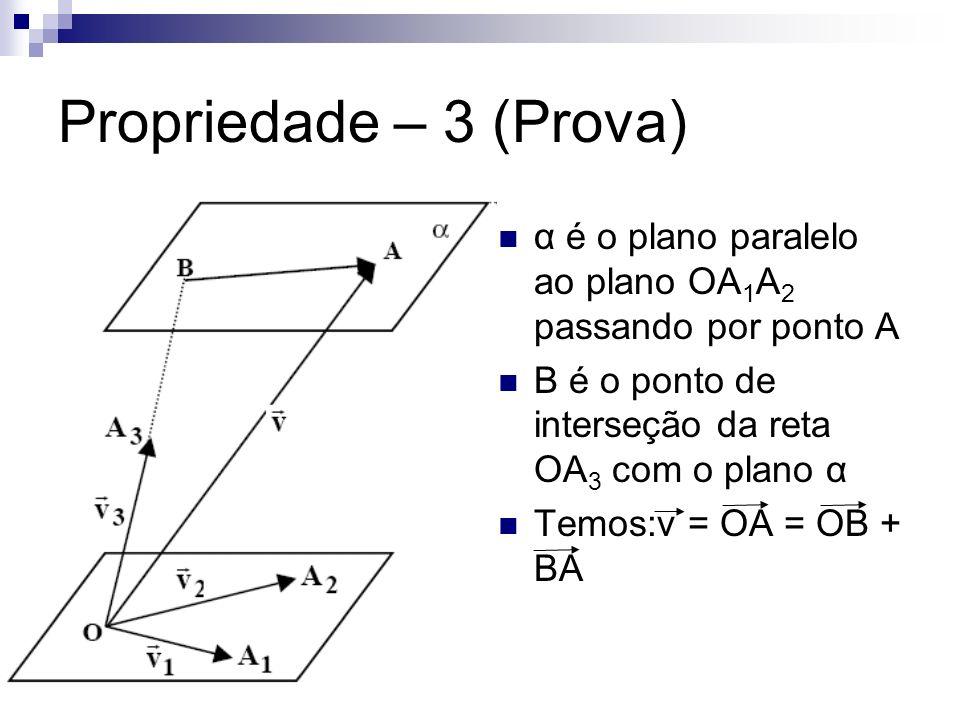 Propriedade – 3 (Prova) α é o plano paralelo ao plano OA1A2 passando por ponto A. B é o ponto de interseção da reta OA3 com o plano α.