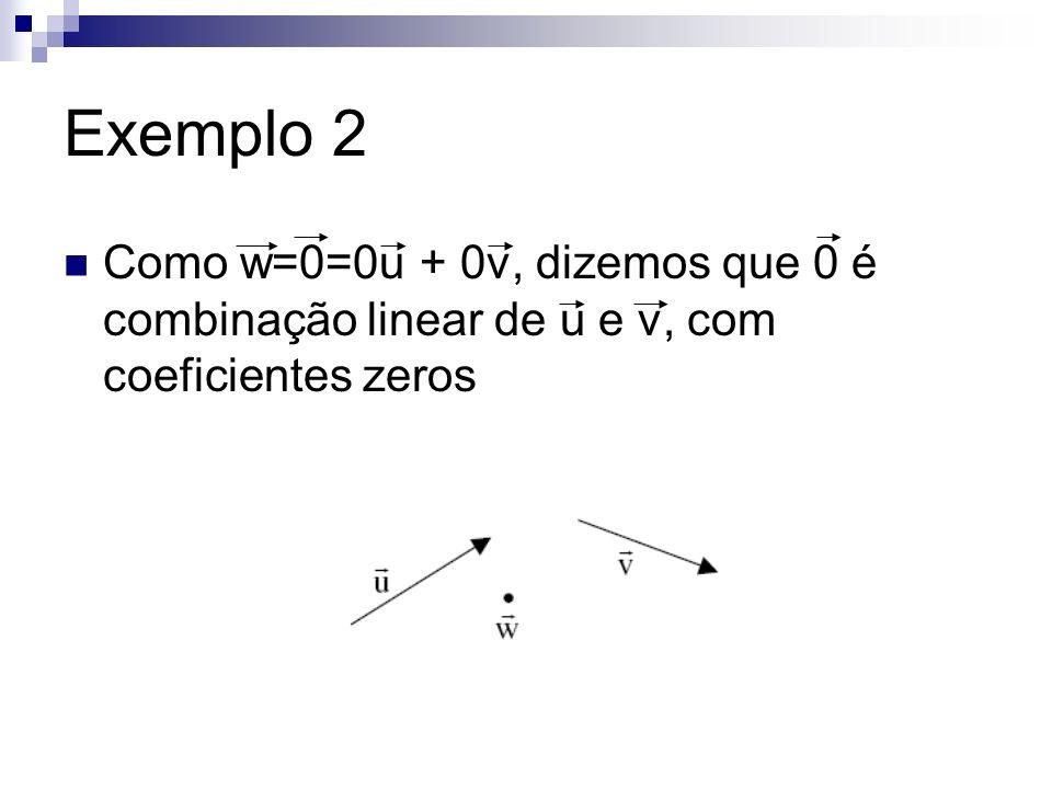 Exemplo 2 Como w=0=0u + 0v, dizemos que 0 é combinação linear de u e v, com coeficientes zeros
