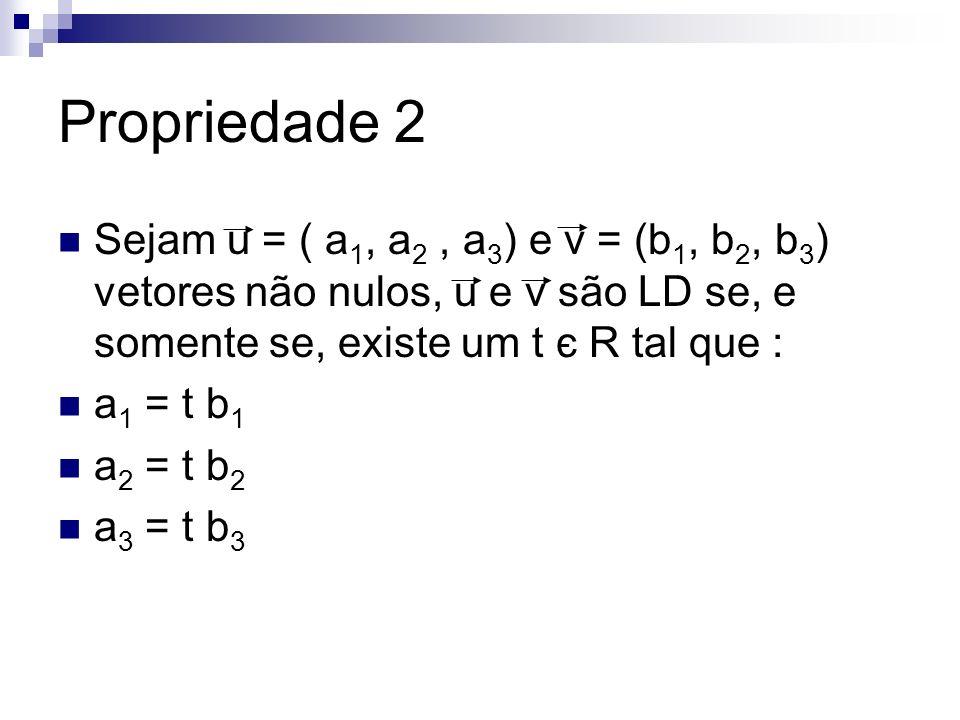 Propriedade 2 Sejam u = ( a1, a2 , a3) e v = (b1, b2, b3) vetores não nulos, u e v são LD se, e somente se, existe um t є R tal que :