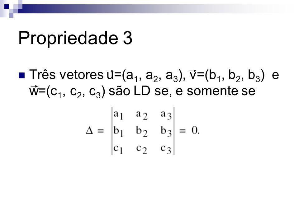 Propriedade 3 Três vetores u=(a1, a2, a3), v=(b1, b2, b3) e w=(c1, c2, c3) são LD se, e somente se