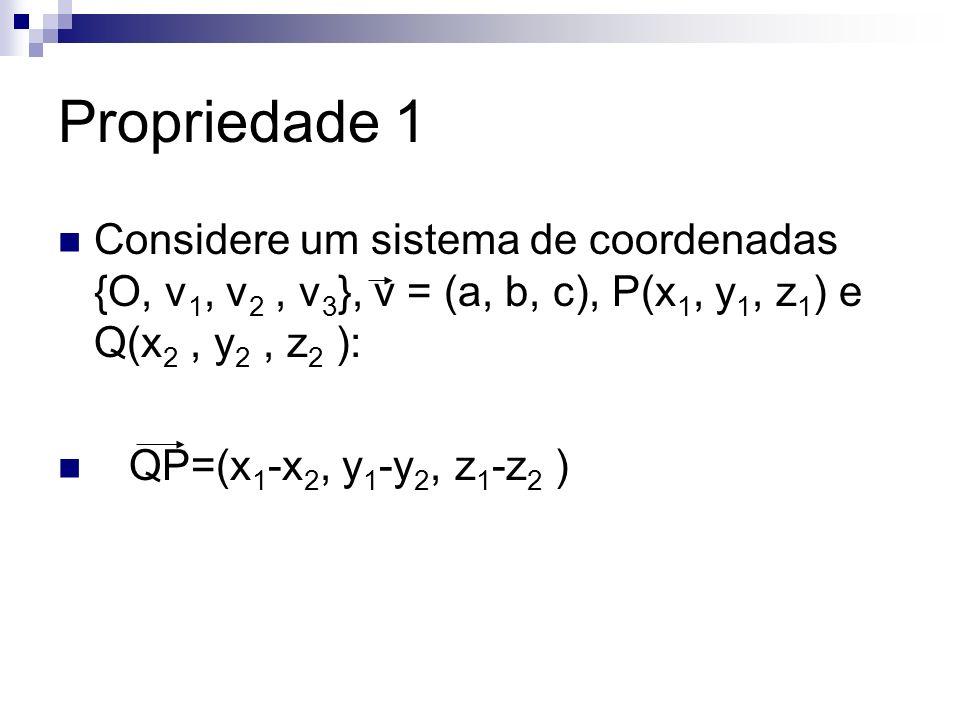 Propriedade 1 Considere um sistema de coordenadas {O, v1, v2 , v3}, v = (a, b, c), P(x1, y1, z1) e Q(x2 , y2 , z2 ):