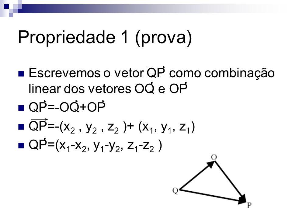 Propriedade 1 (prova) Escrevemos o vetor QP como combinação linear dos vetores OQ e OP. QP=-OQ+OP.