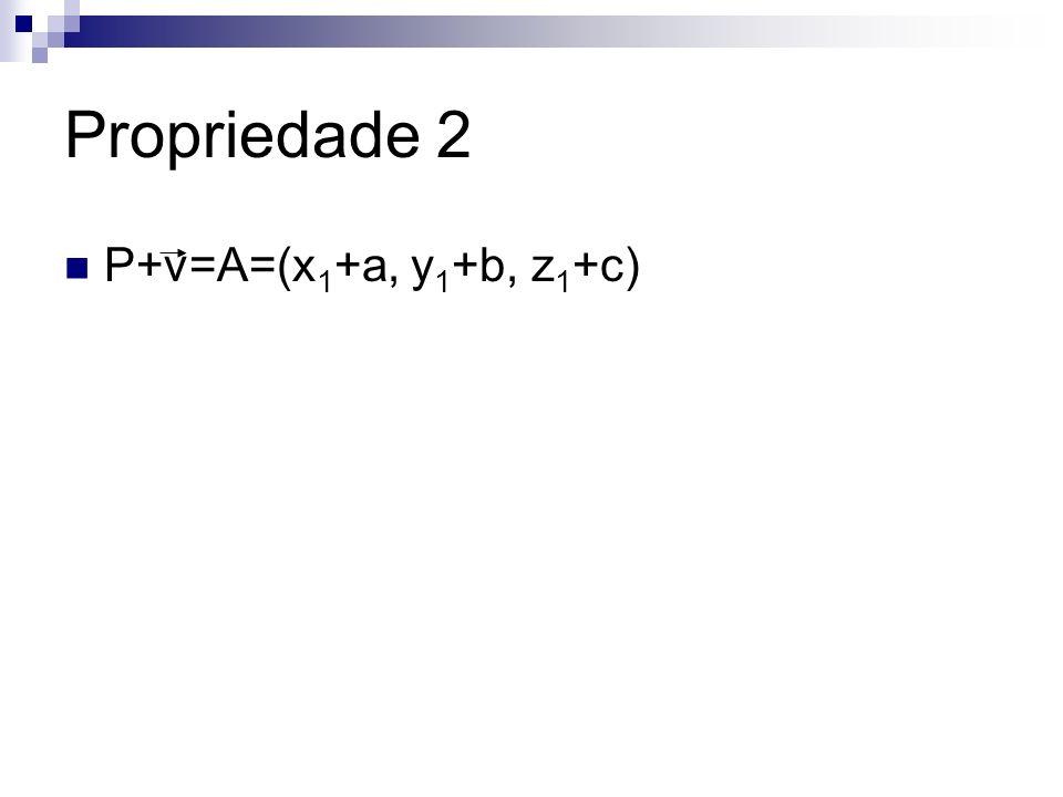 Propriedade 2 P+v=A=(x1+a, y1+b, z1+c)