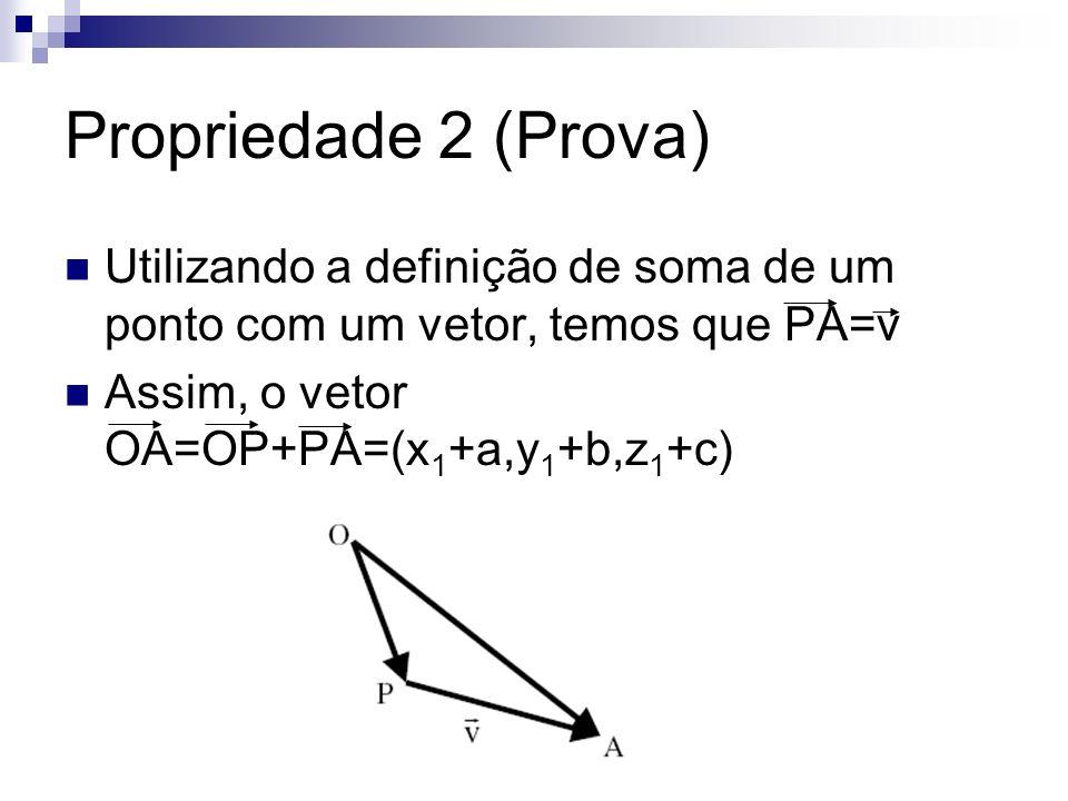Propriedade 2 (Prova) Utilizando a definição de soma de um ponto com um vetor, temos que PA=v.