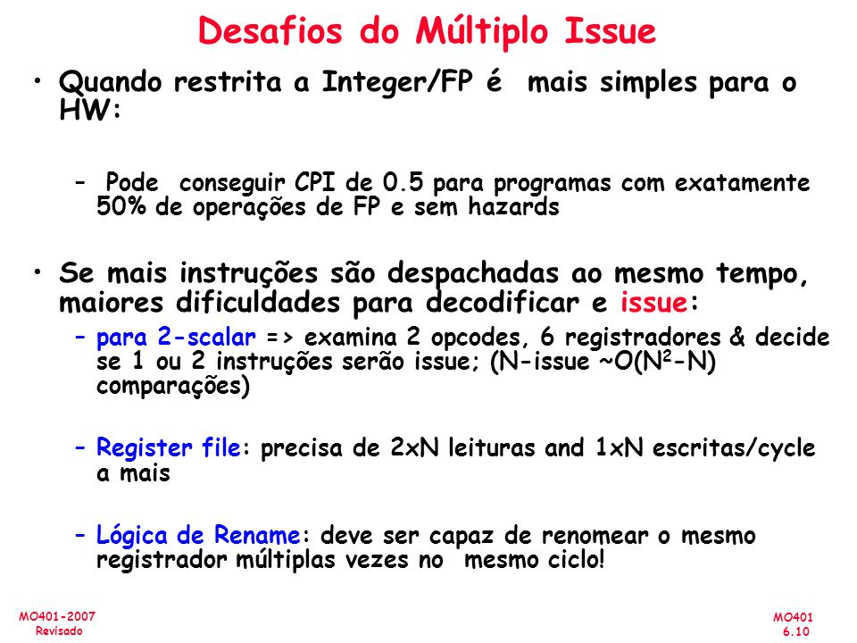 Desafios do Múltiplo Issue