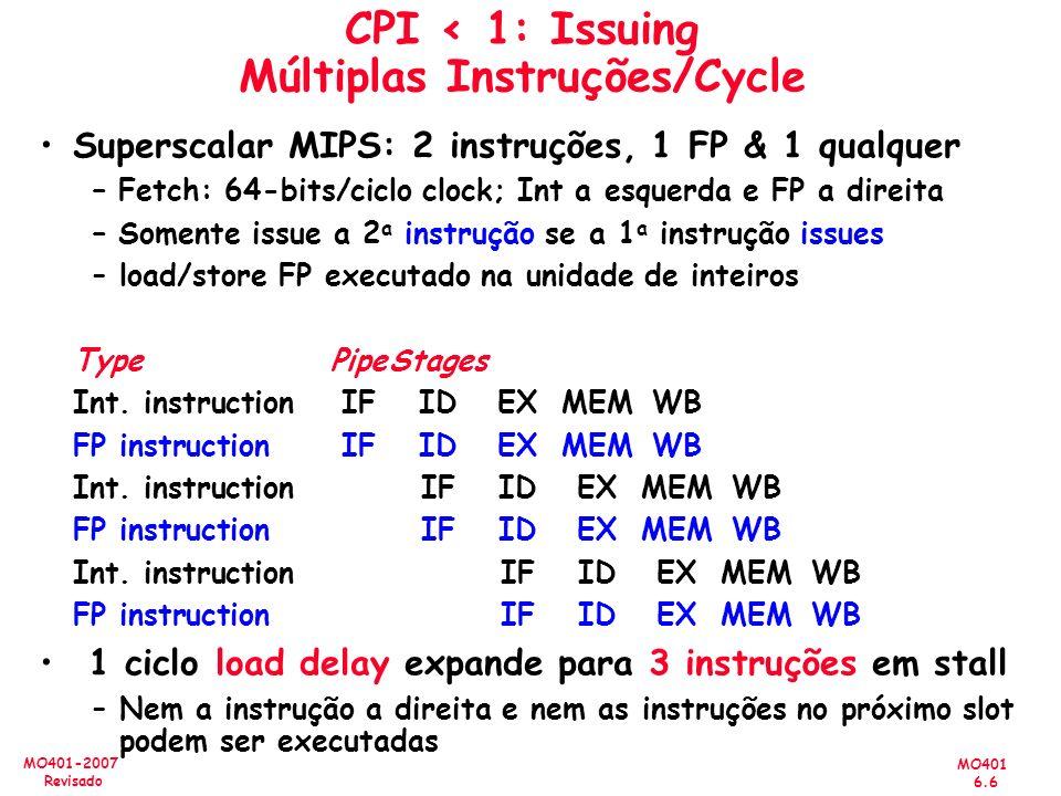 CPI < 1: Issuing Múltiplas Instruções/Cycle