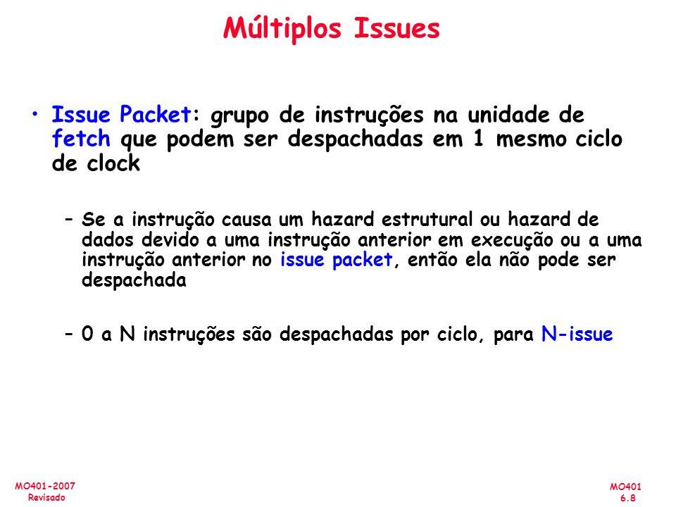 Múltiplos Issues Issue Packet: grupo de instruções na unidade de fetch que podem ser despachadas em 1 mesmo ciclo de clock.