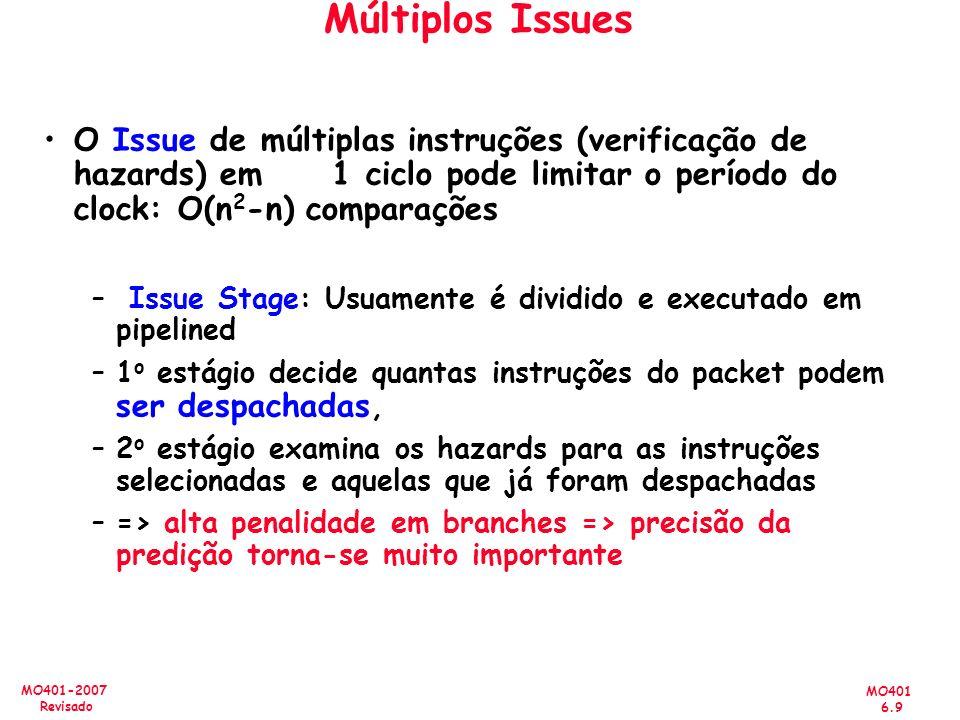Múltiplos Issues O Issue de múltiplas instruções (verificação de hazards) em 1 ciclo pode limitar o período do clock: O(n2-n) comparações.