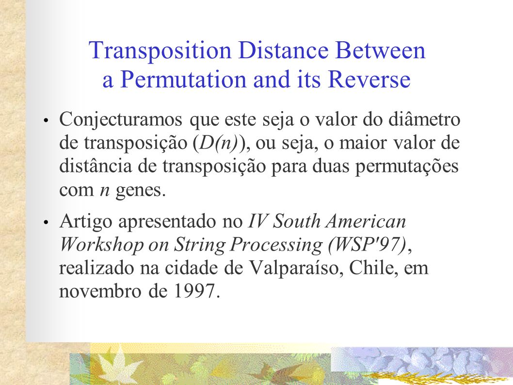 Transposition Distance Between a Permutation and its Reverse