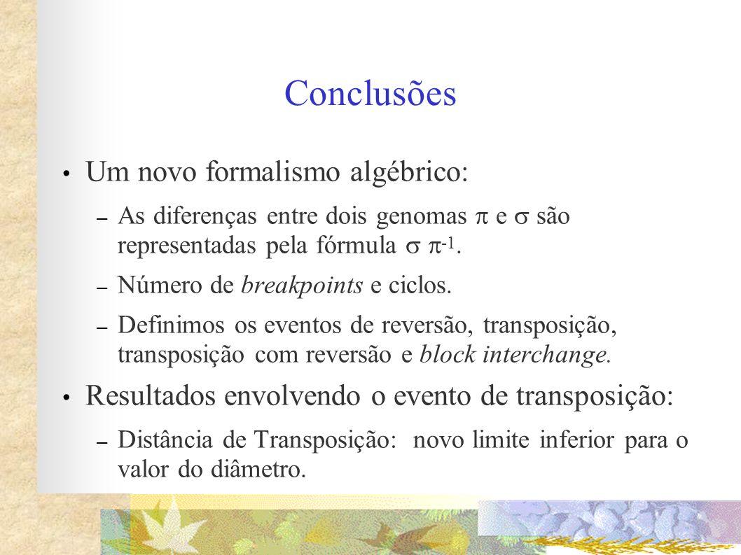 Conclusões Um novo formalismo algébrico: