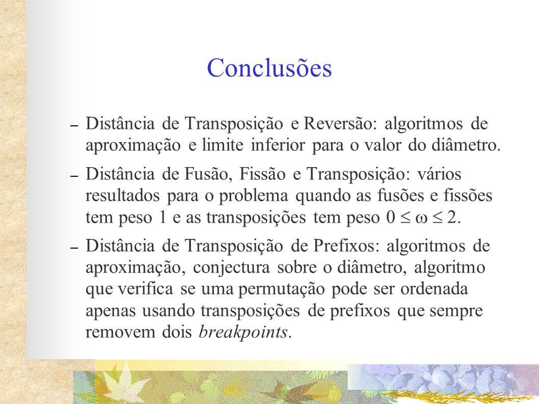 Conclusões Distância de Transposição e Reversão: algoritmos de aproximação e limite inferior para o valor do diâmetro.