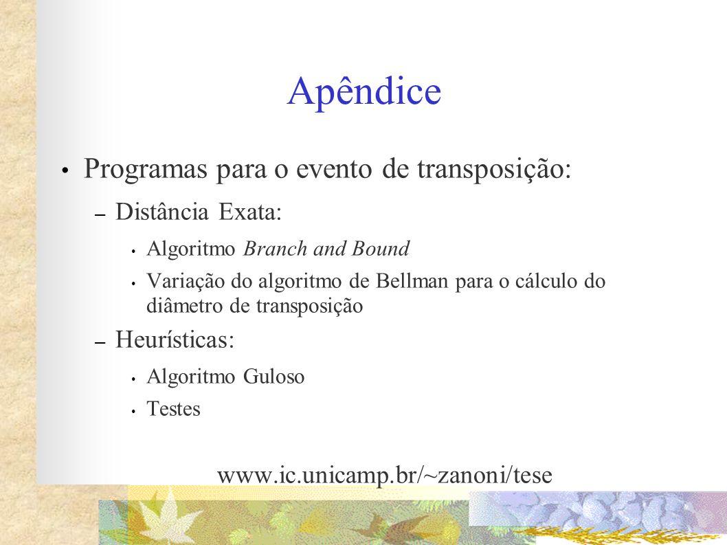 Apêndice Programas para o evento de transposição: Distância Exata: