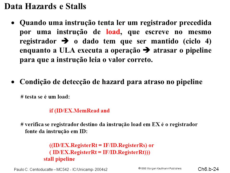 Data Hazards e Stalls