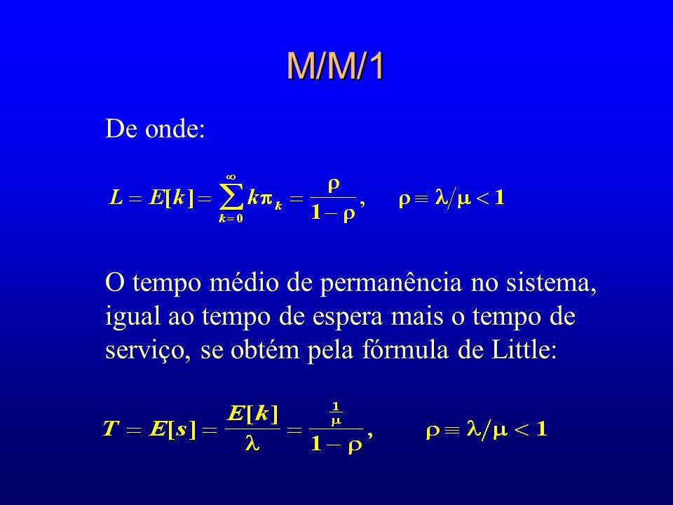 M/M/1De onde: O tempo médio de permanência no sistema, igual ao tempo de espera mais o tempo de serviço, se obtém pela fórmula de Little: