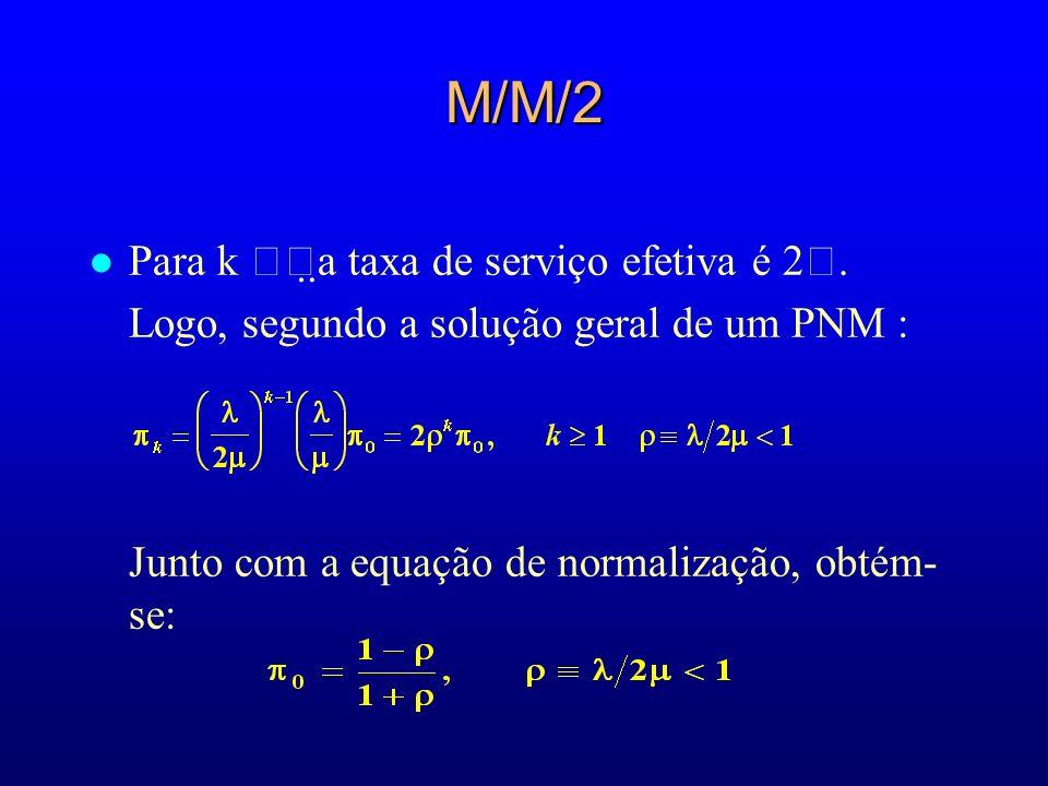 M/M/2 Para k a taxa de serviço efetiva é 2.