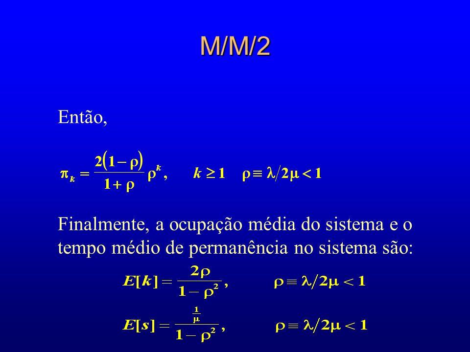 M/M/2Então, Finalmente, a ocupação média do sistema e o tempo médio de permanência no sistema são: 21.