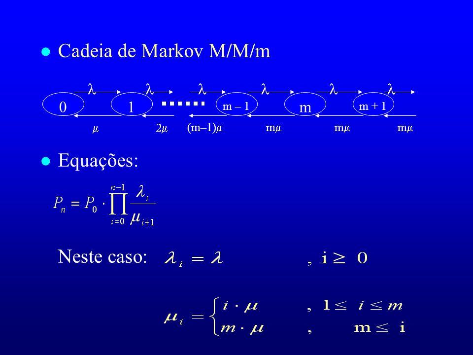 Cadeia de Markov M/M/m Equações: Neste caso:       1 m m – 1