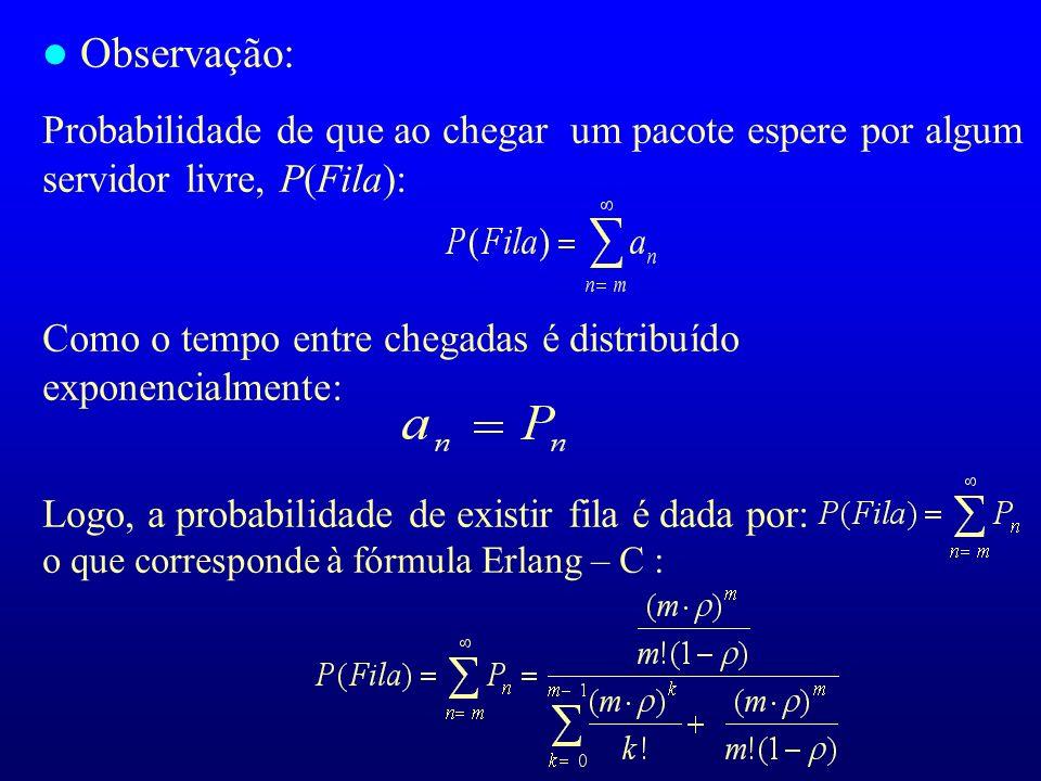 Observação: Probabilidade de que ao chegar um pacote espere por algum servidor livre, P(Fila): Como o tempo entre chegadas é distribuído exponencialmente: Logo, a probabilidade de existir fila é dada por: o que corresponde à fórmula Erlang – C :