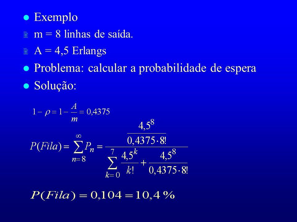 Problema: calcular a probabilidade de espera Solução: