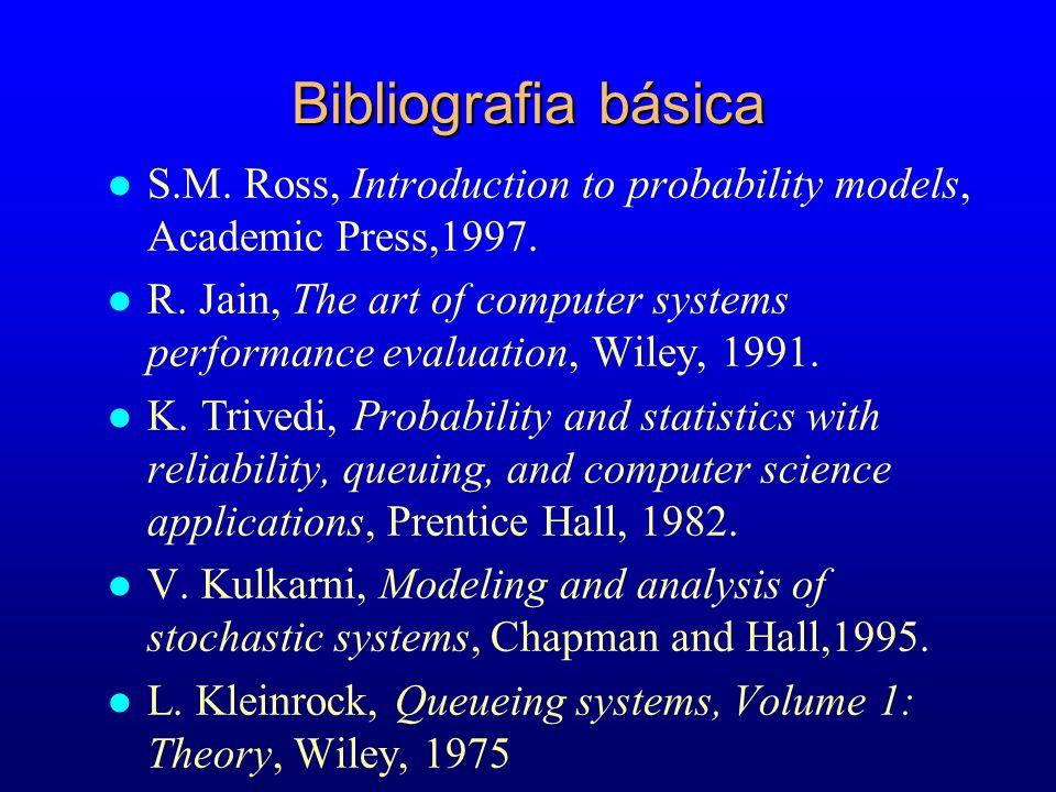 Bibliografia básicaS.M. Ross, Introduction to probability models, Academic Press,1997.