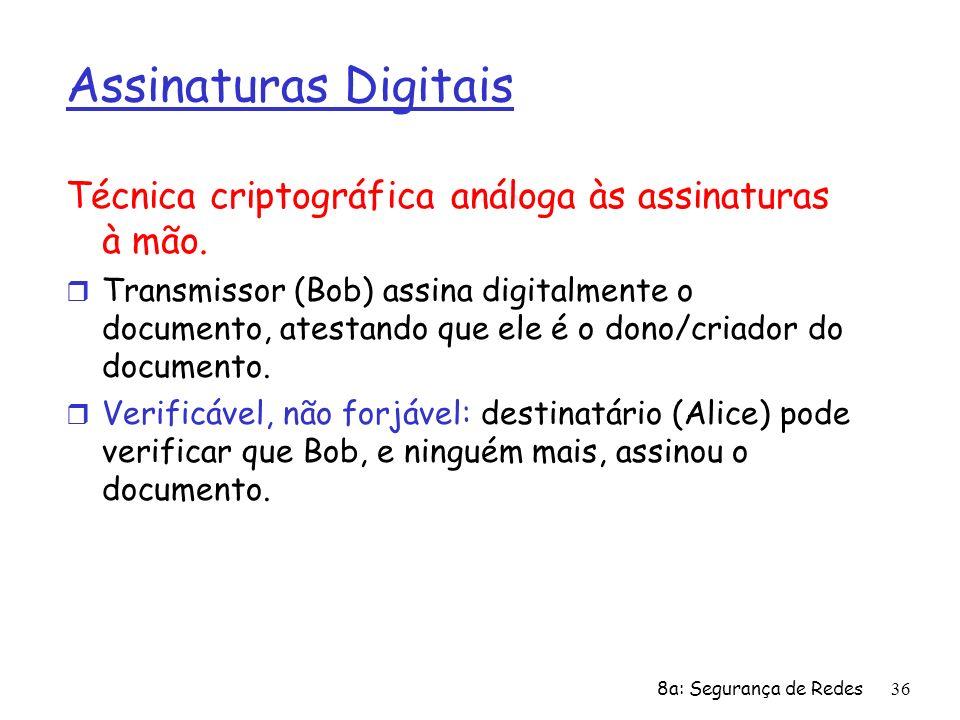 Assinaturas Digitais Técnica criptográfica análoga às assinaturas à mão.