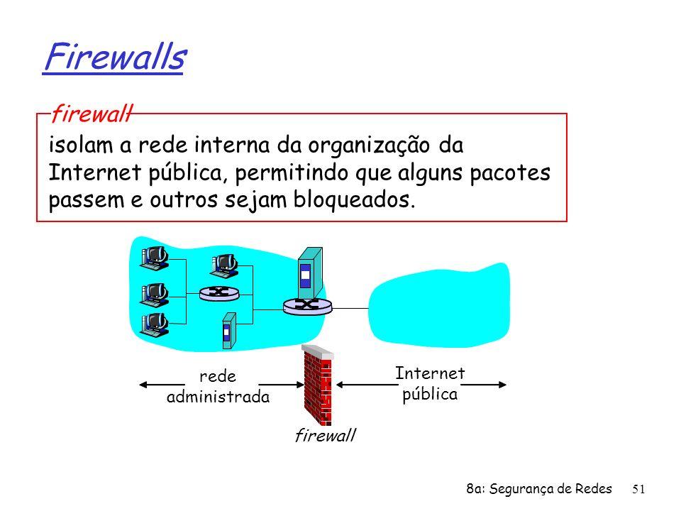 Firewallsfirewall. isolam a rede interna da organização da Internet pública, permitindo que alguns pacotes passem e outros sejam bloqueados.