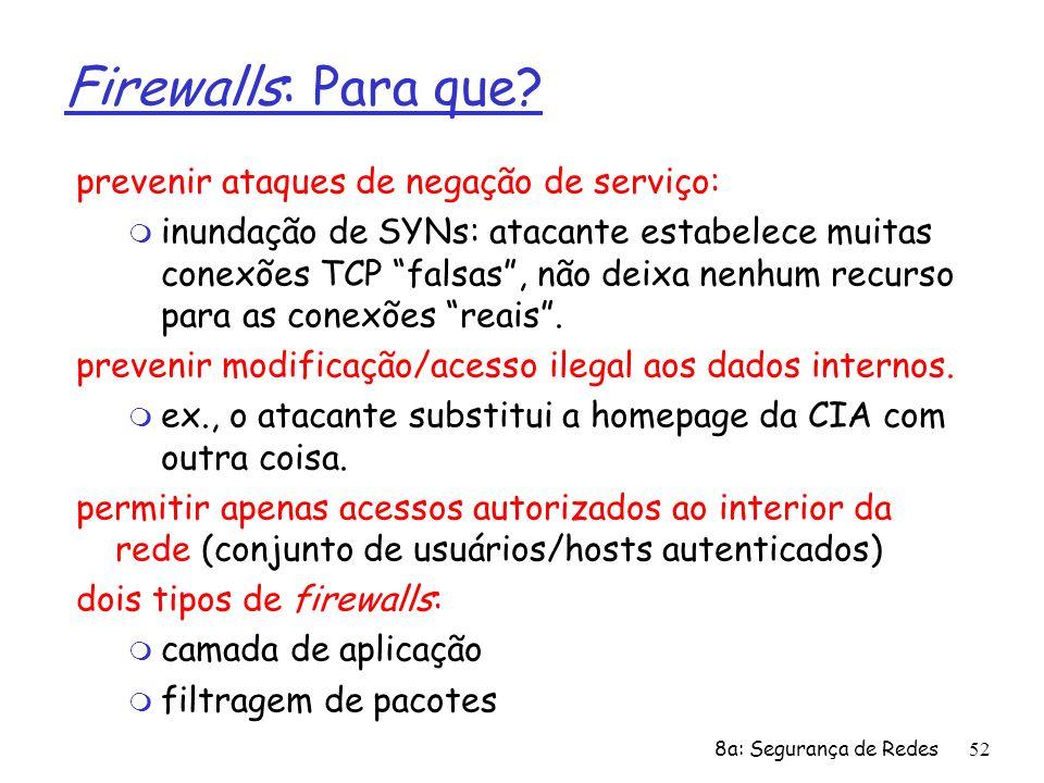Firewalls: Para que prevenir ataques de negação de serviço: