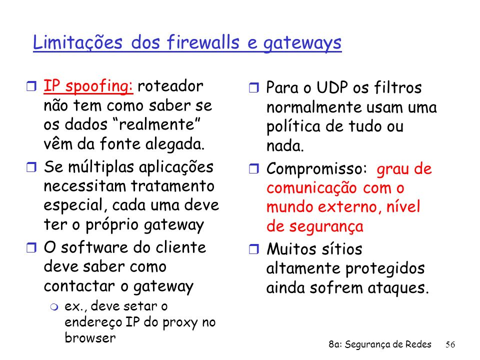 Limitações dos firewalls e gateways