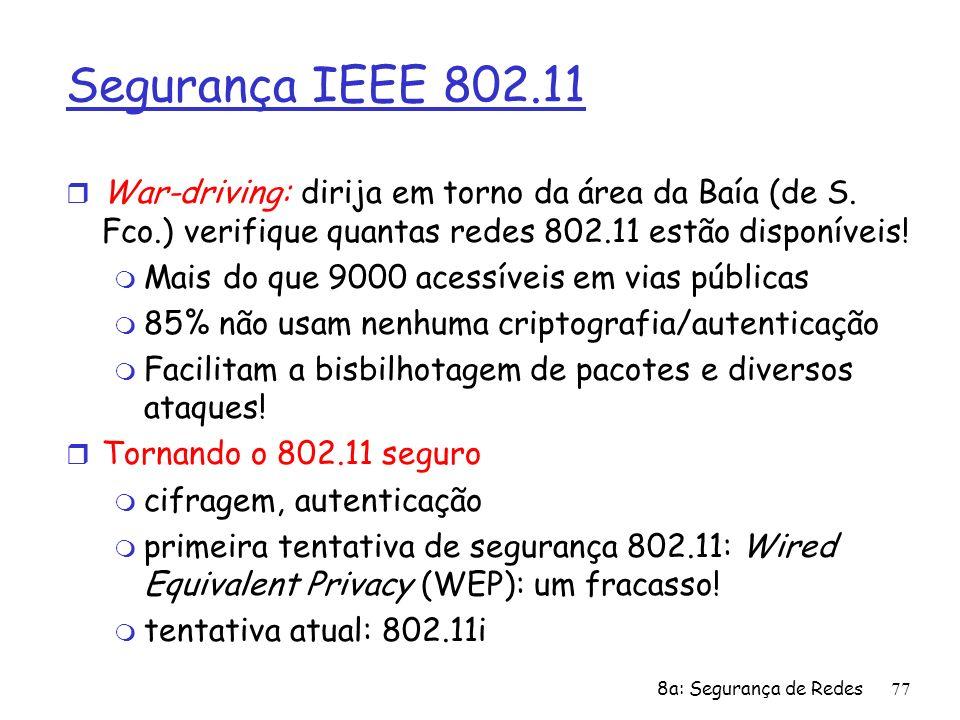 Segurança IEEE 802.11War-driving: dirija em torno da área da Baía (de S. Fco.) verifique quantas redes 802.11 estão disponíveis!