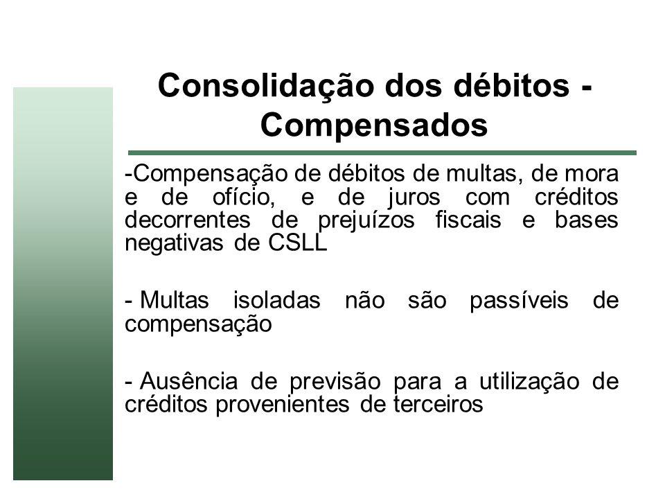 Consolidação dos débitos - Compensados