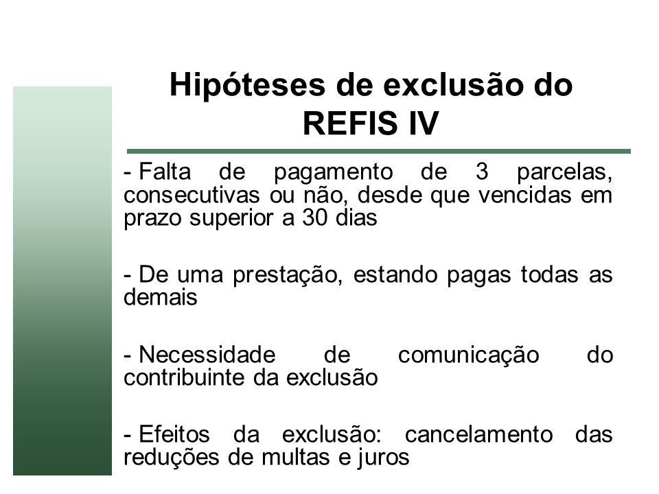 Hipóteses de exclusão do REFIS IV